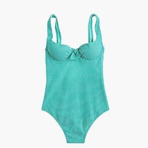 J. Crew Swim - NWT J. Crew Emerald Green Gingham Swimsuit